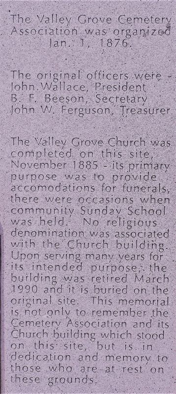Valley Grove Cemetery Marker image. Click for full size.