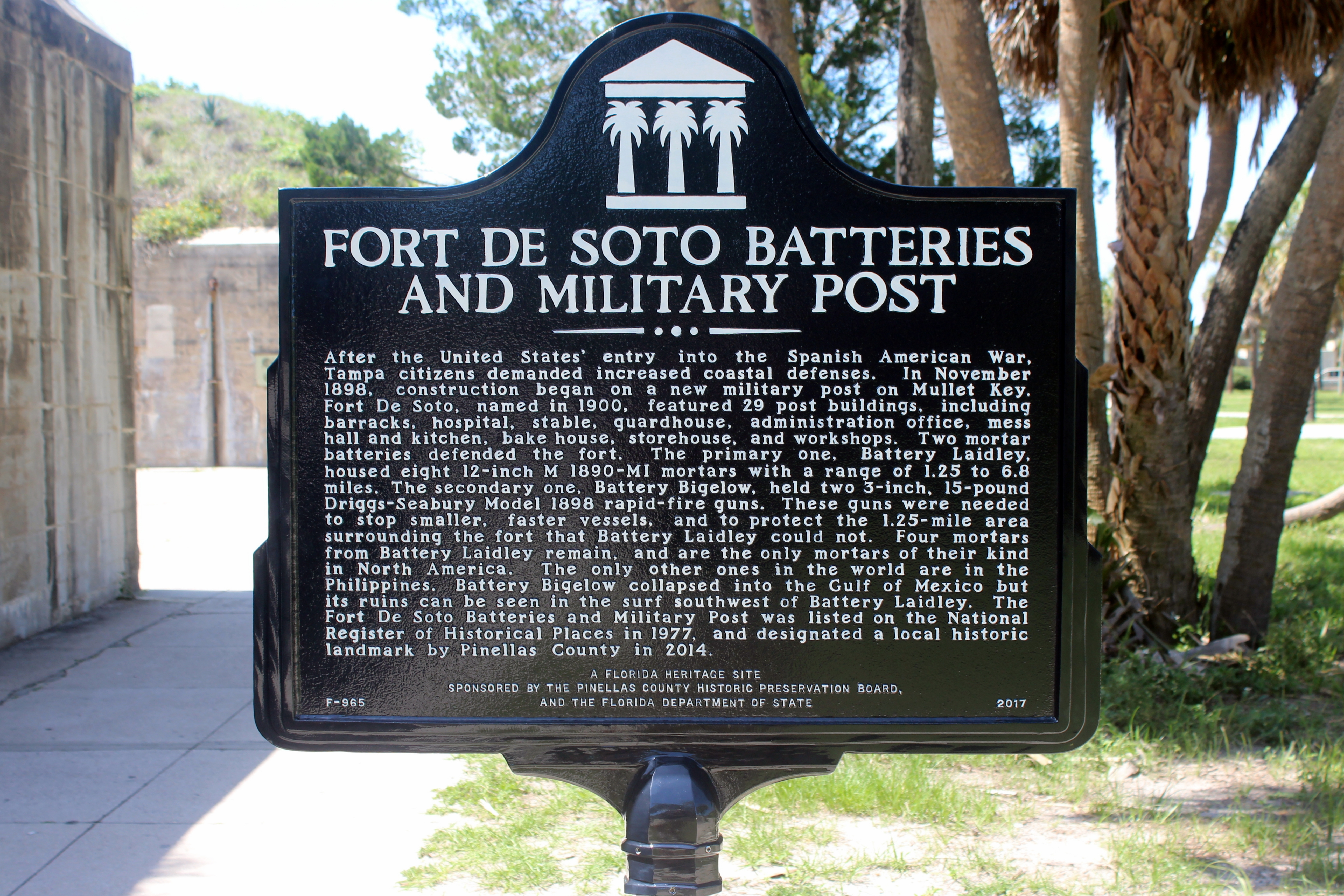 Fort De Soto Batteries and Military Post Marker