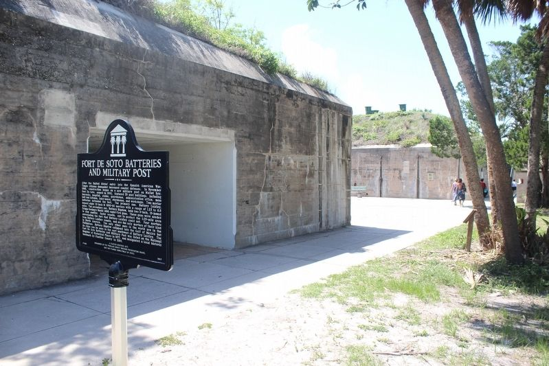 Fort De Soto Batteries and Military Post Marker and part of fort image. Click for full size.