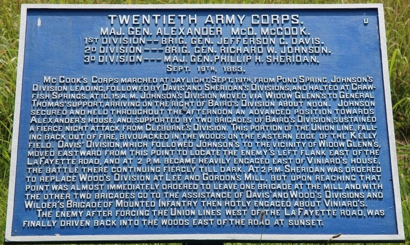 Twentieth Army Corps Marker image. Click for full size.