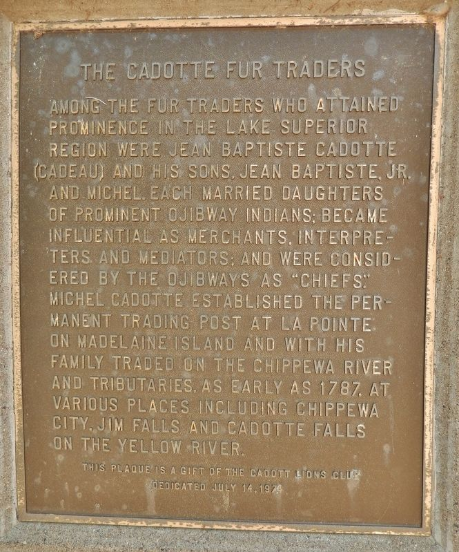 The Cadotte Fur Traders Marker image. Click for full size.