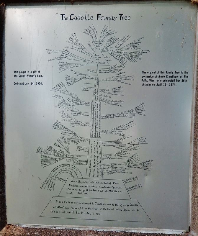 The Cadotte Family Tree Plaque (<i>on back side of marker pedestal</i>) image. Click for full size.
