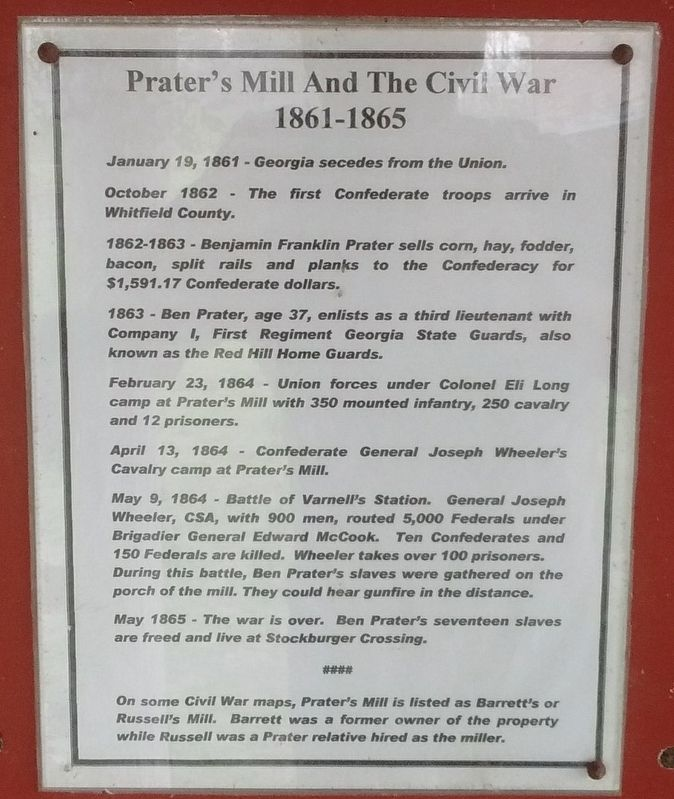 Prater's Mill and The Civil War Marker image. Click for full size.