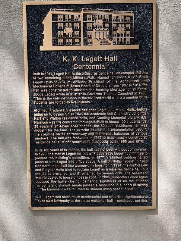 K. K. Legett Hall Centennial Marker image. Click for full size.