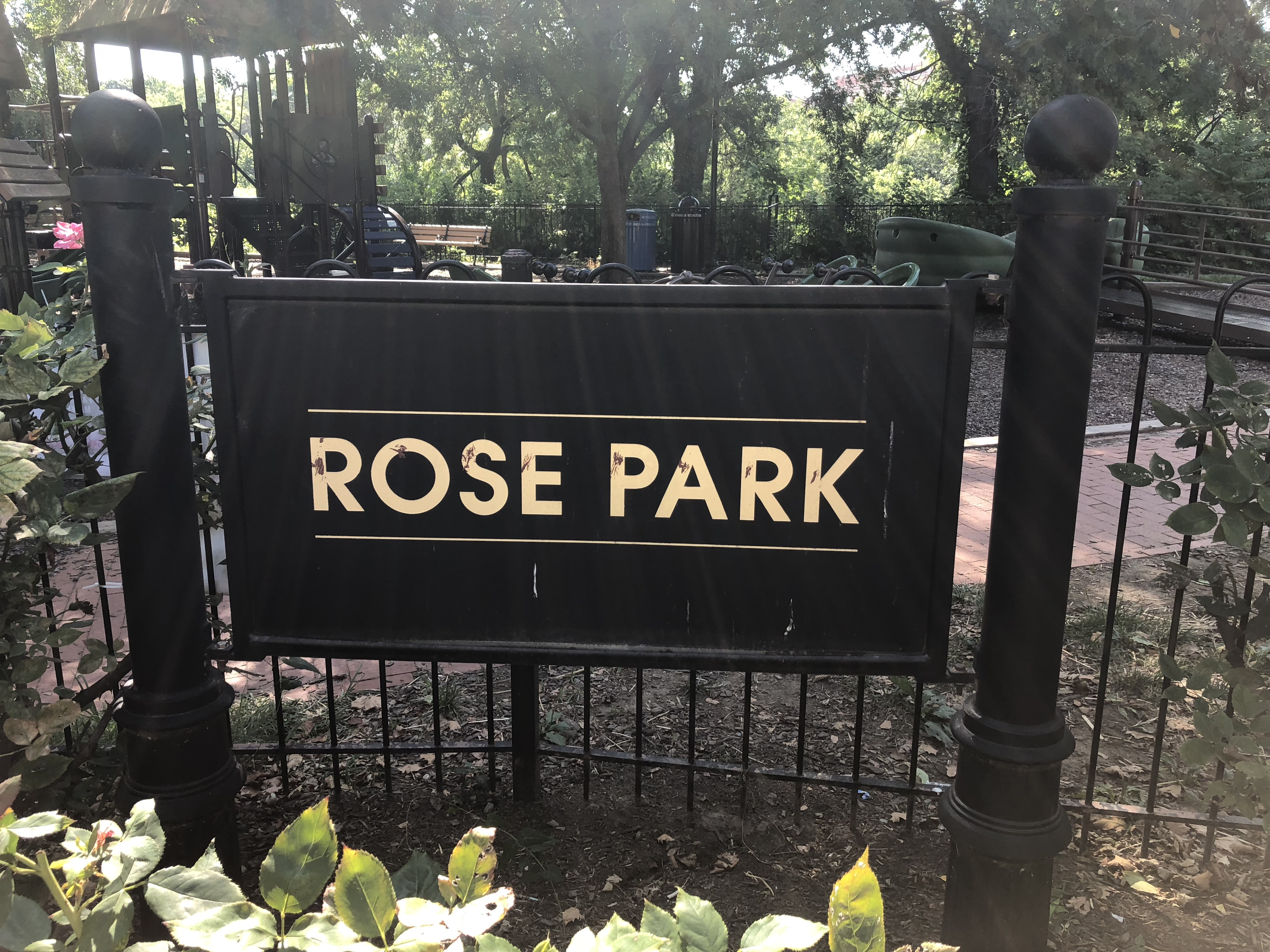 Sign on the grounds of Rose Park