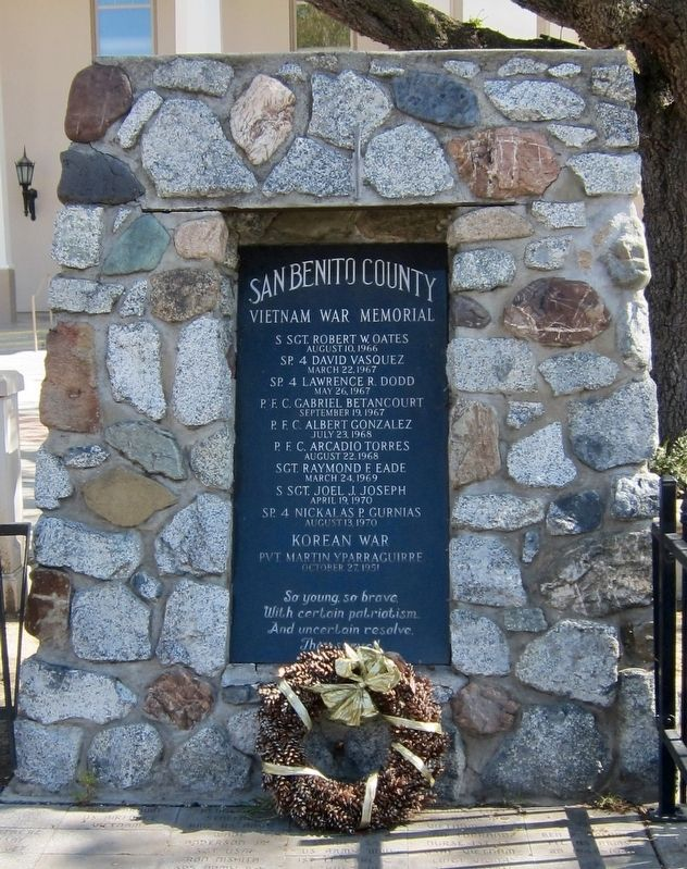 San Benito County Vietnam War Memorial Marker image. Click for full size.