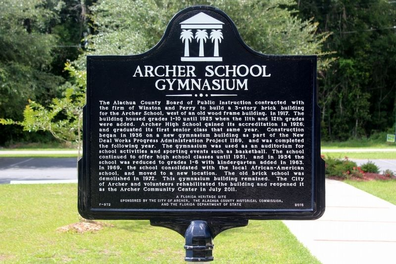 Archer School Gymnasium Marker image. Click for full size.