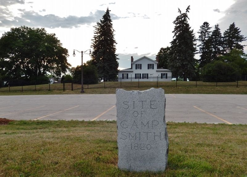Site of Camp Smith 1820 Marker (<i>wide view; Heritage Hill State Historical Park in background</i>) image. Click for full size.