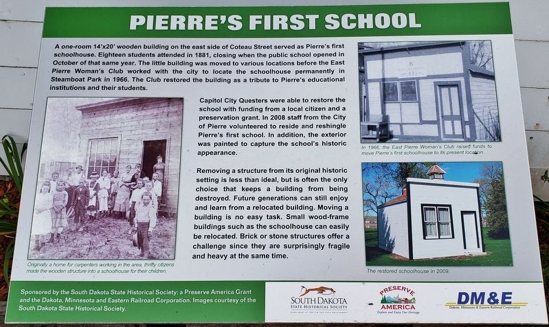 Pierre's First School Marker image. Click for full size.