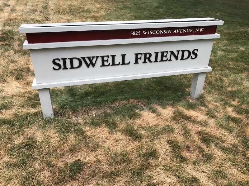 Sign on the grounds of Sidwell Friends School image. Click for full size.