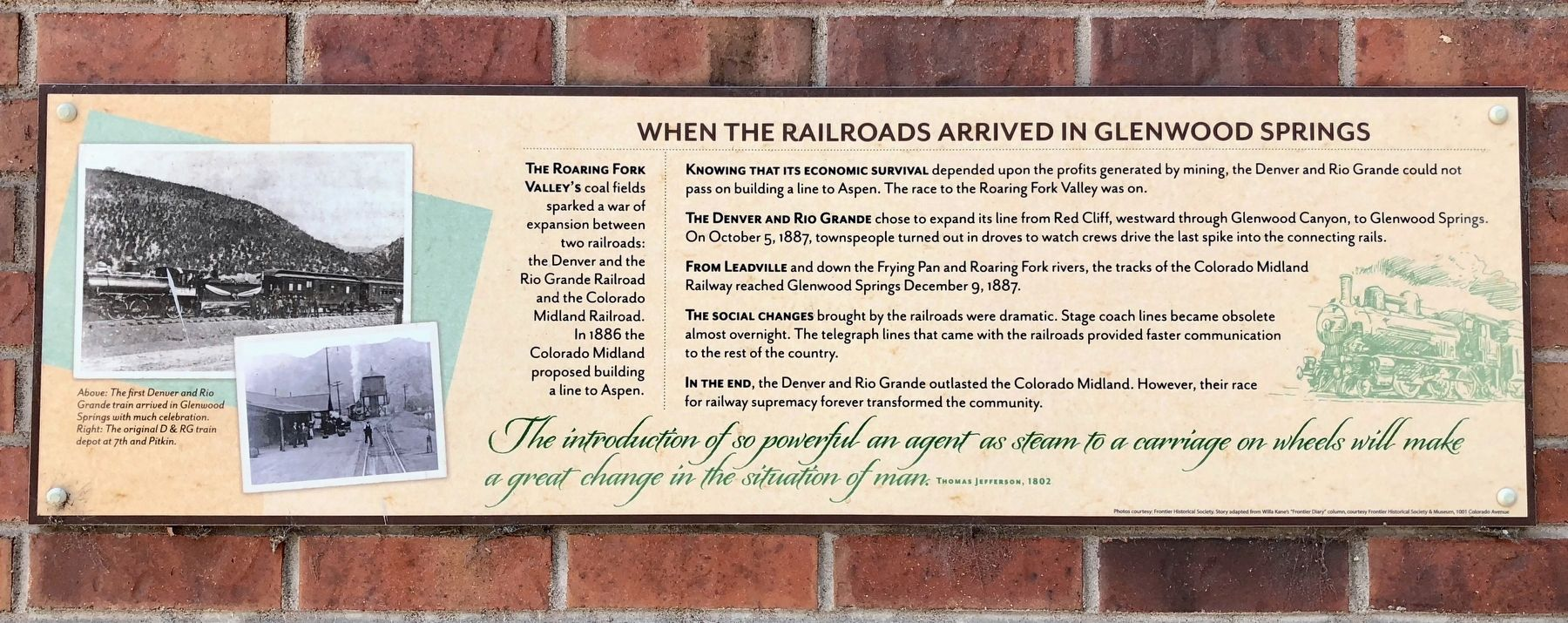 When the Railroads Arrived in Glenwood Springs Marker image. Click for full size.