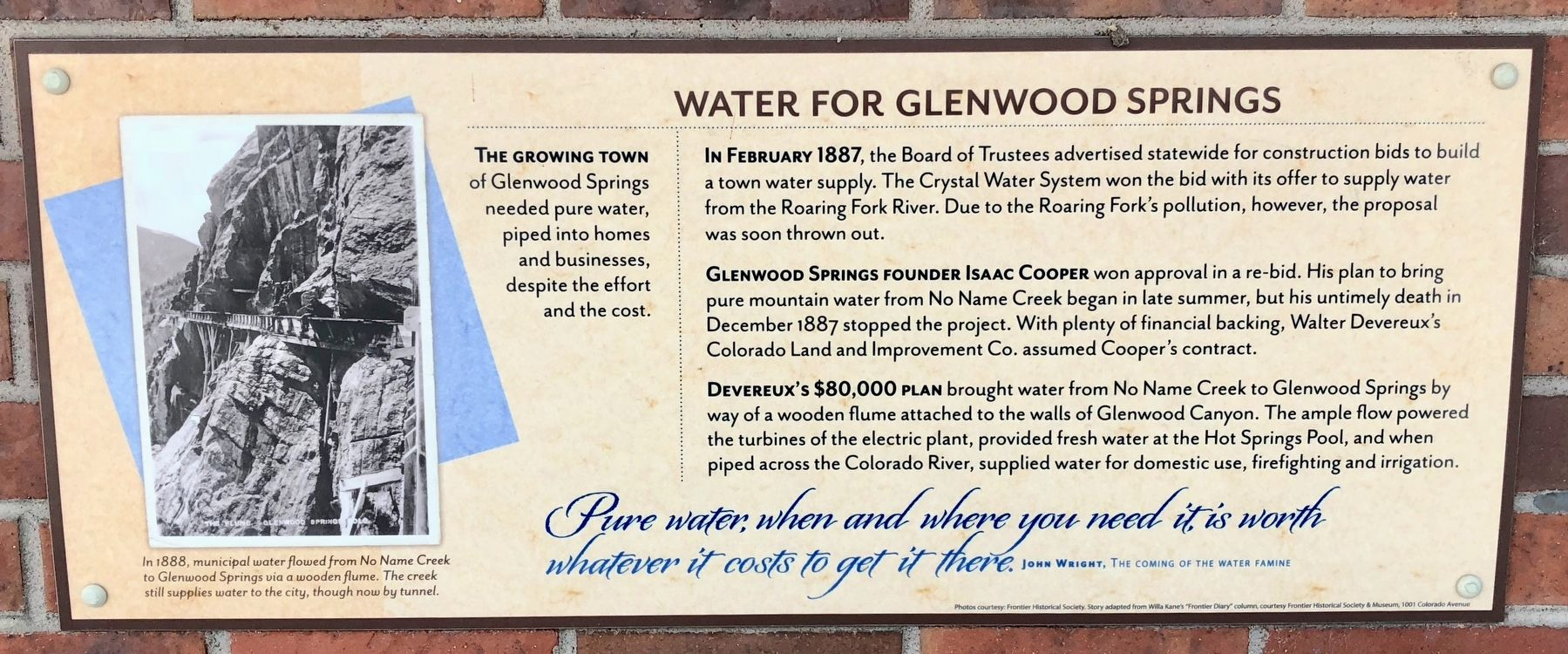 Water for Glenwood Springs Marker image. Click for full size.