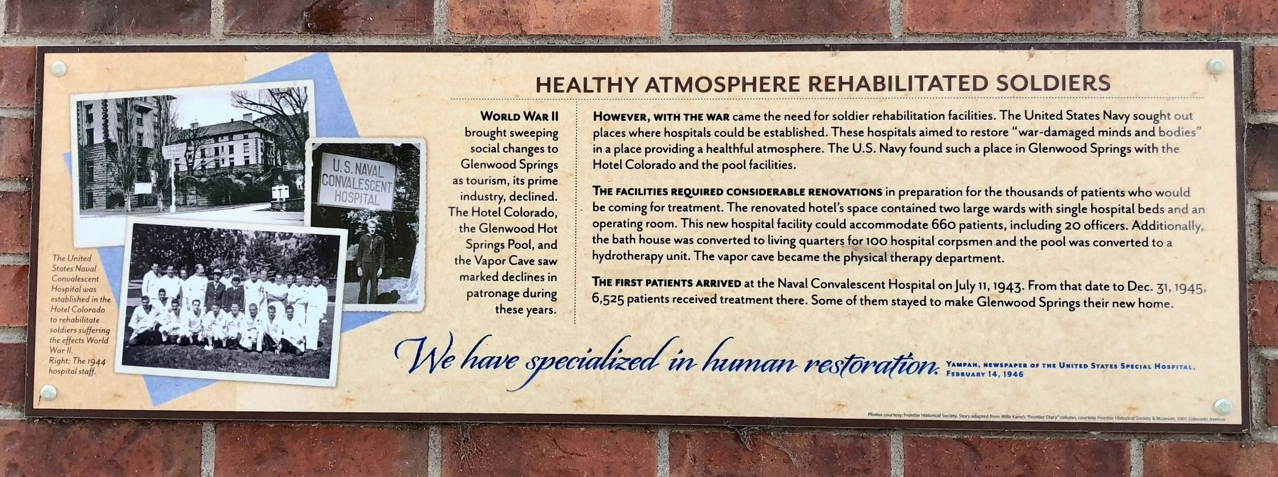 Healthy Atmosphere Rehabilitated Soldiers Marker image. Click for full size.