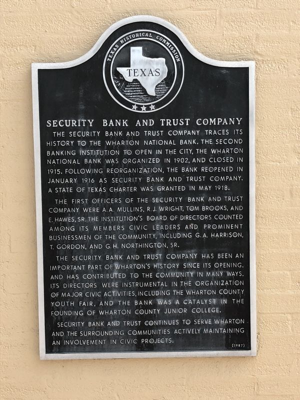 Security Bank and Trust Company Marker image. Click for full size.