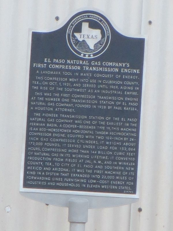 El Paso Natural Gas Company's First Compressor Transmission Engine Marker image. Click for full size.