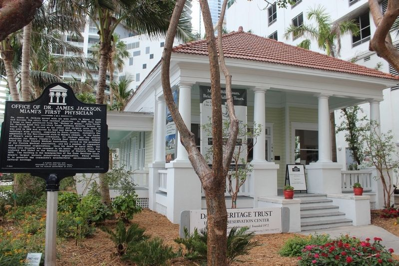 Office of Dr. James Jackson, Miami's First Physician Marker and office image. Click for full size.
