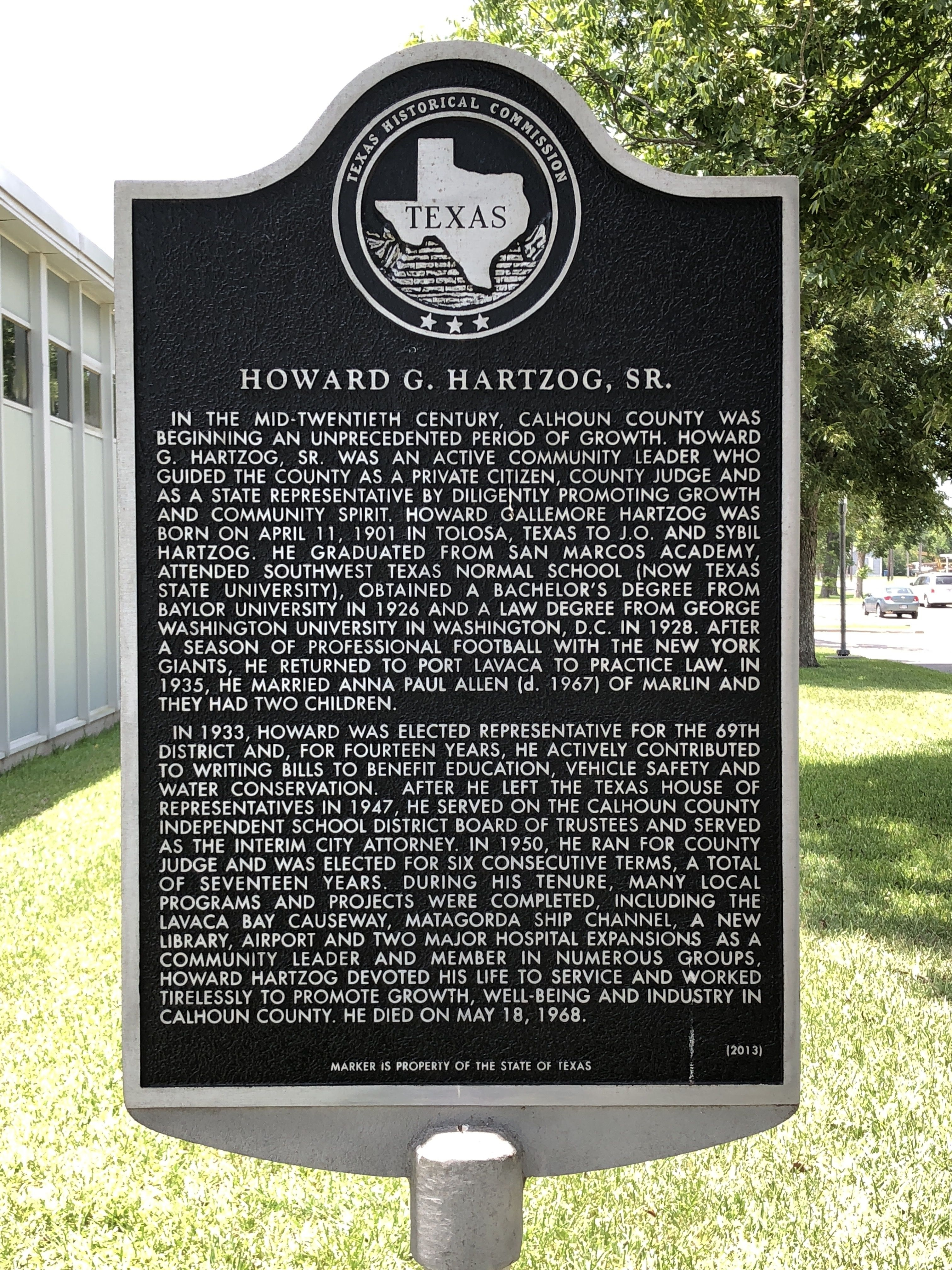 Howard Gallemore Hartzog, Sr. Marker
