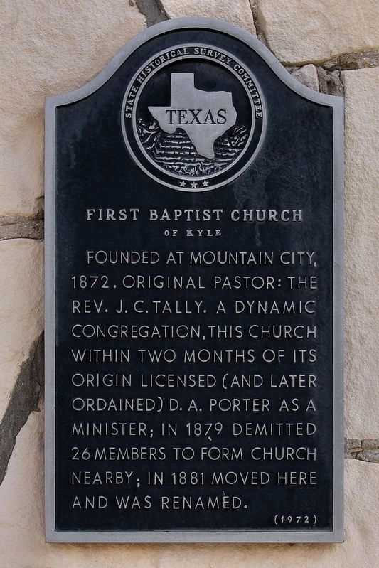 First Baptist Church of Kyle Marker image. Click for full size.