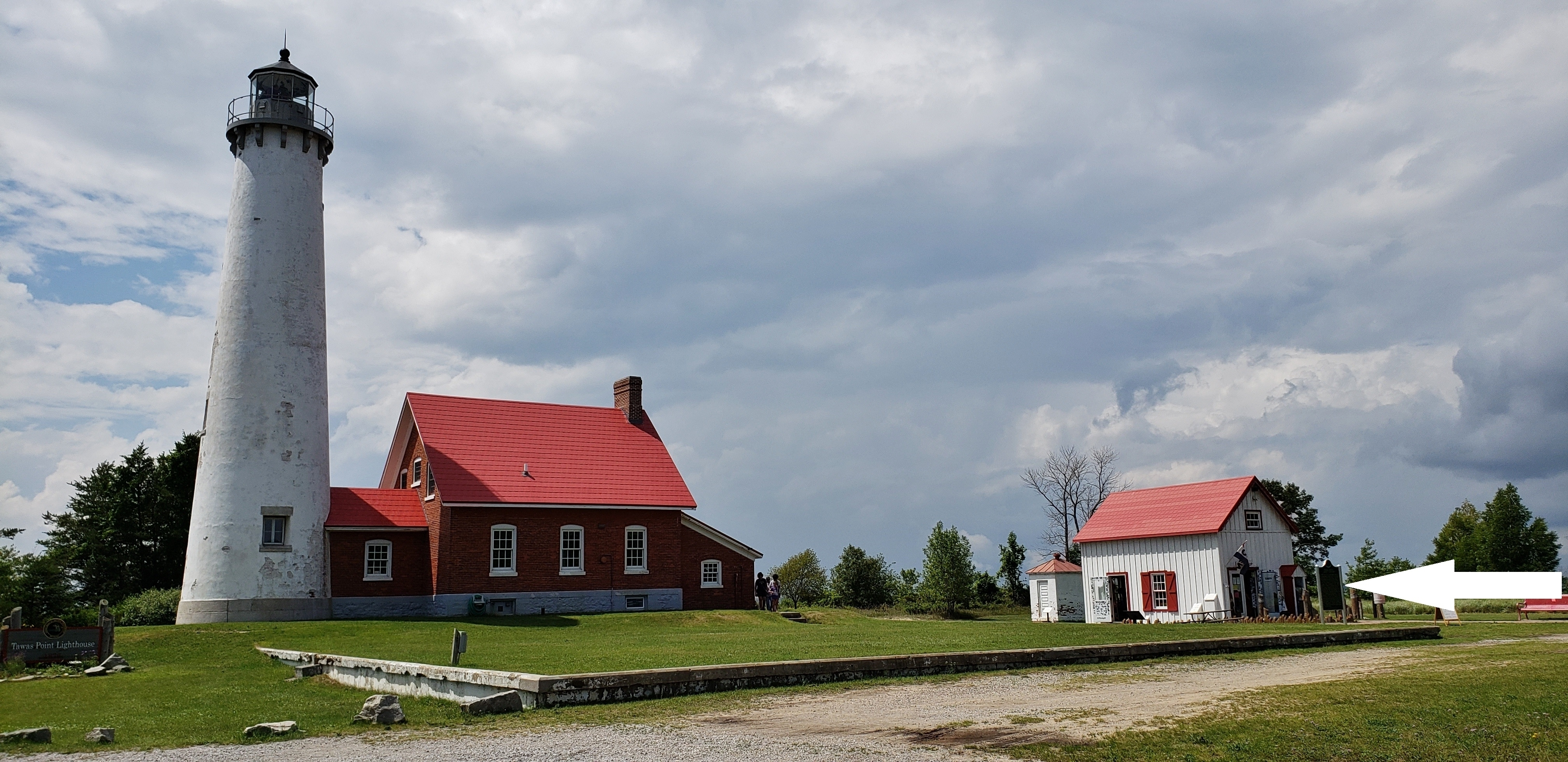 Tawas Point Light Station (<i>west side view; marker visible at far right</i>)