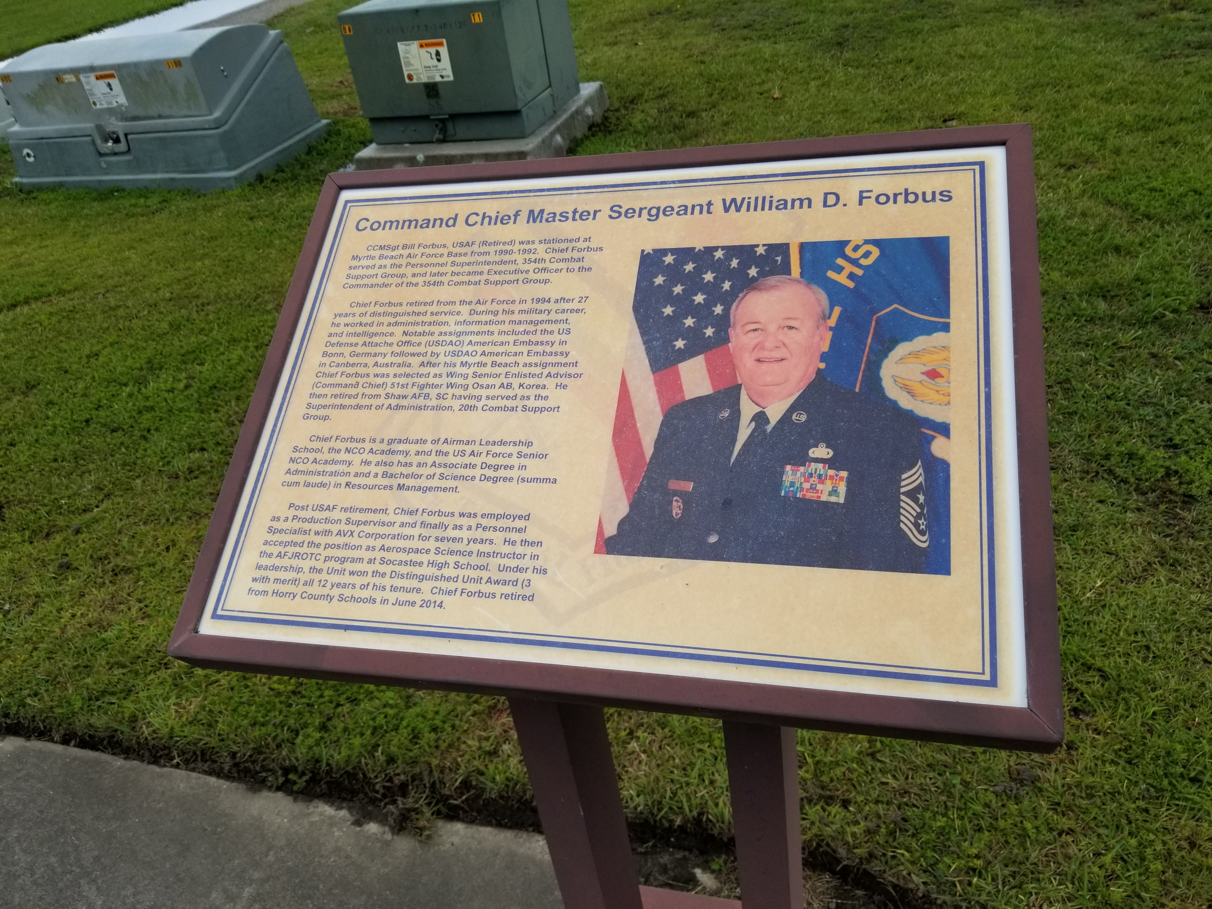 Command Chief Master Sergeant William D. Forbus Marker