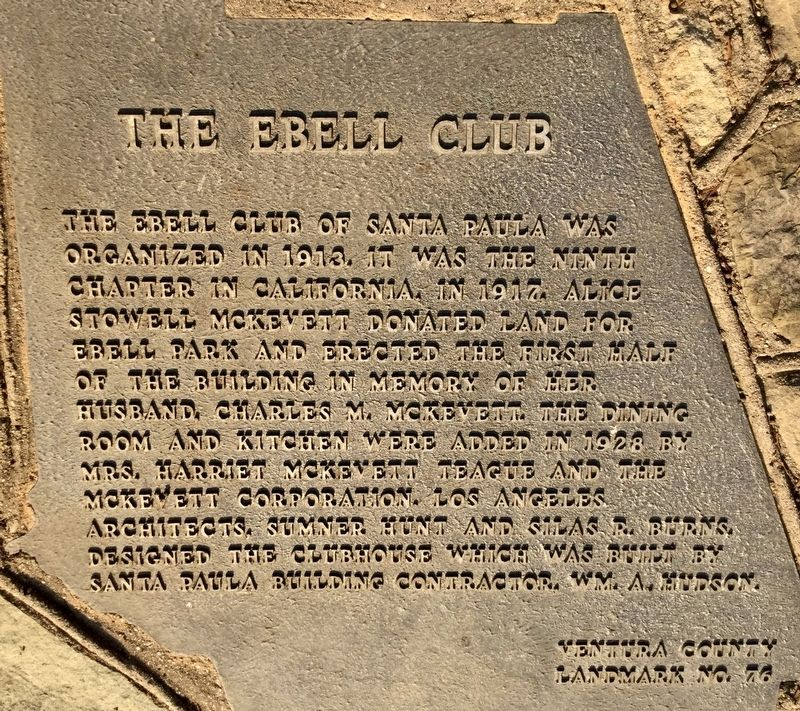 The Ebell Club Marker image. Click for full size.