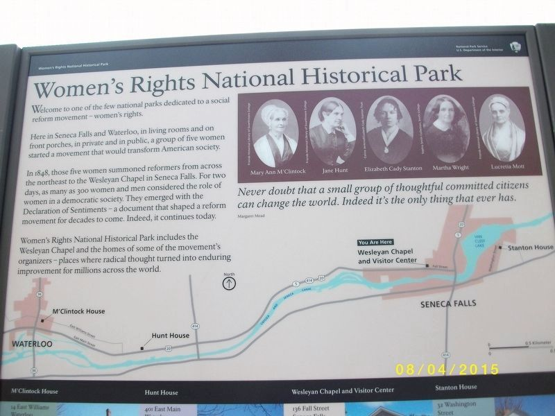 Women's Rights National Park Marker - closer view of upper half of marker image. Click for full size.