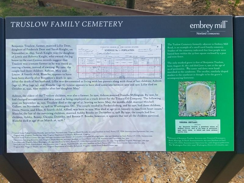 Truslow Family Cemetery Marker image. Click for full size.