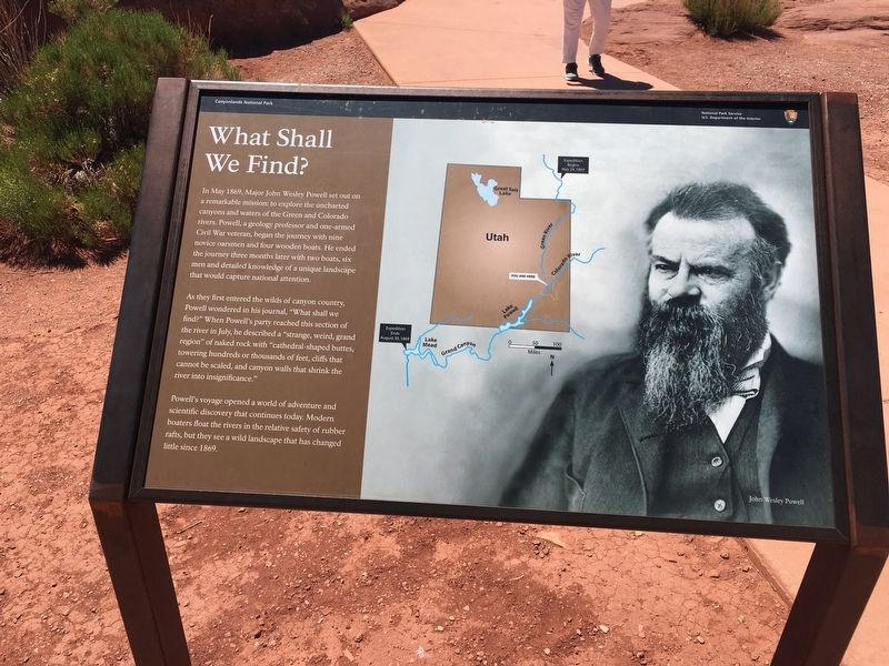 John Wesley Powell on the Green River Marker image. Click for full size.