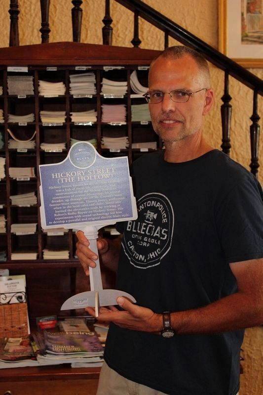 Hickory Street Marker Replica image. Click for full size.