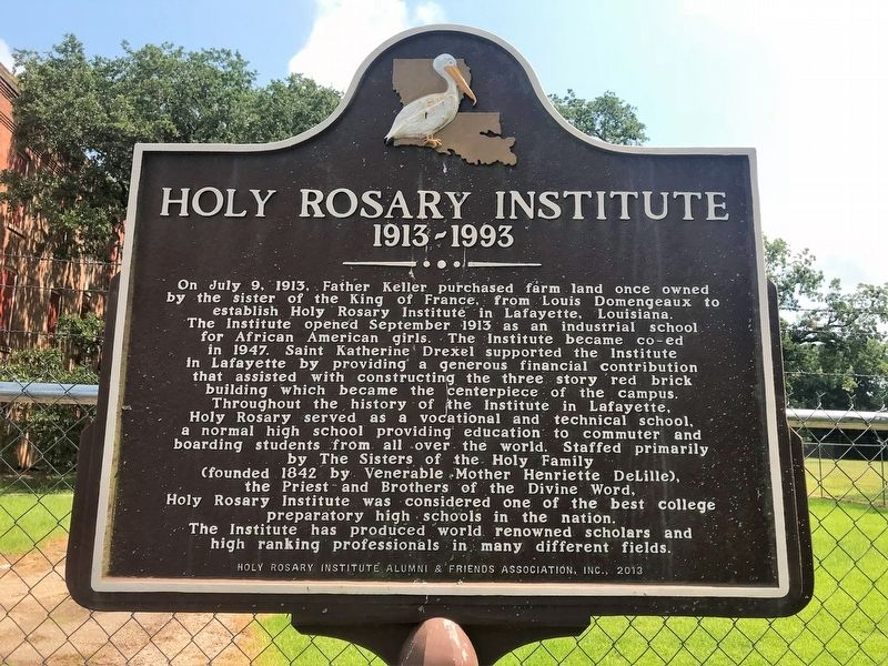 Holy Rosary Institute Marker image. Click for full size.