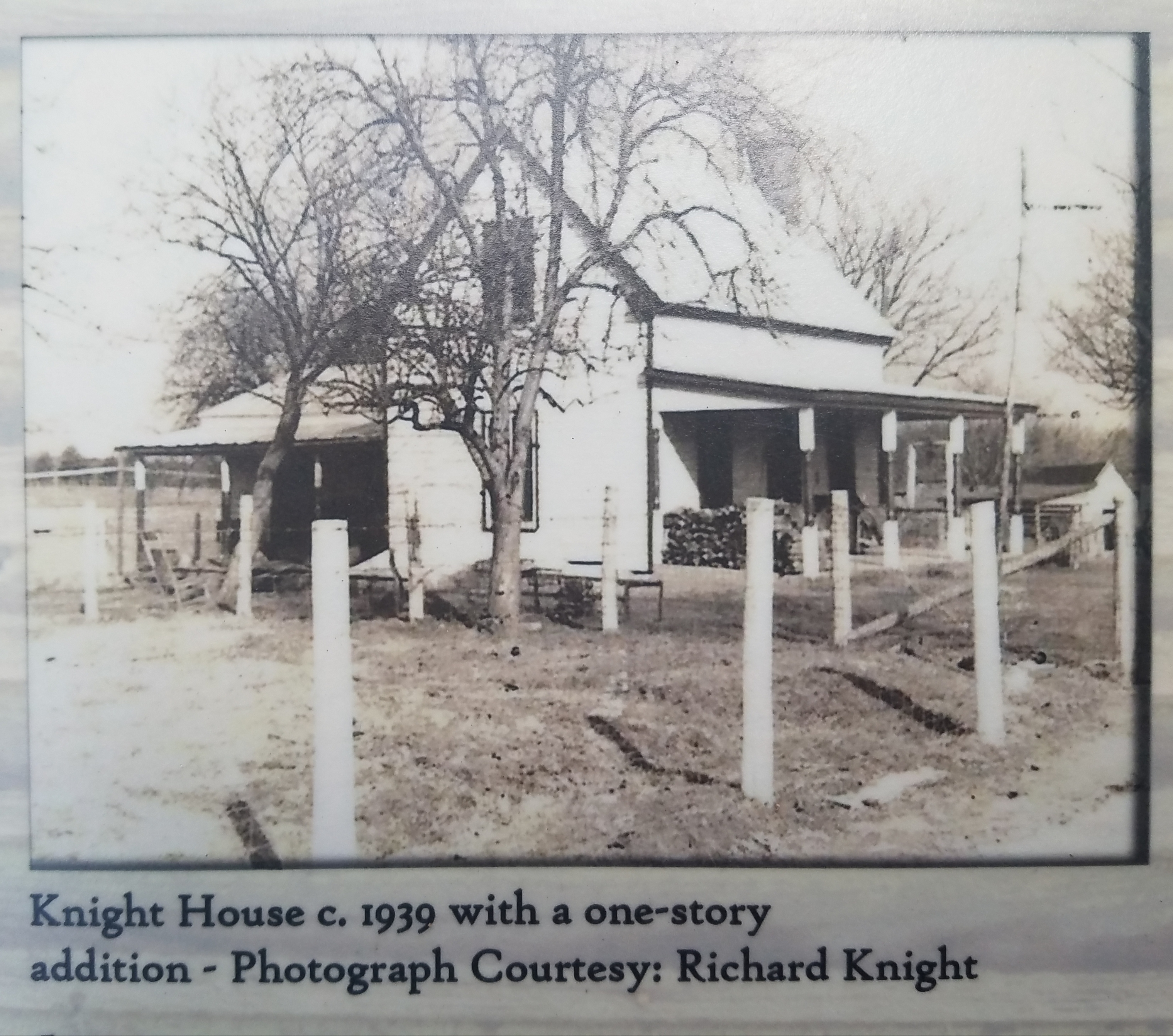 Close up of the Knight House Marker