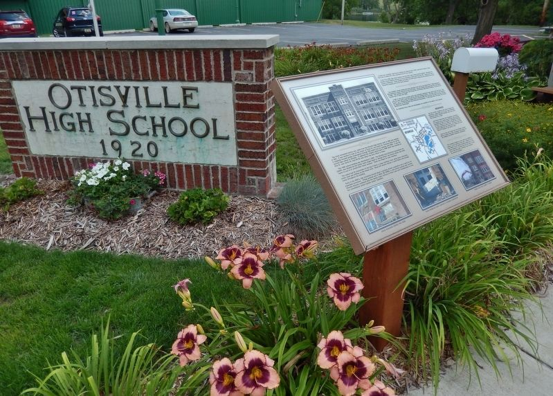 Otisville High School Marker (<i>wide view; brick monument in background</i>) image. Click for full size.
