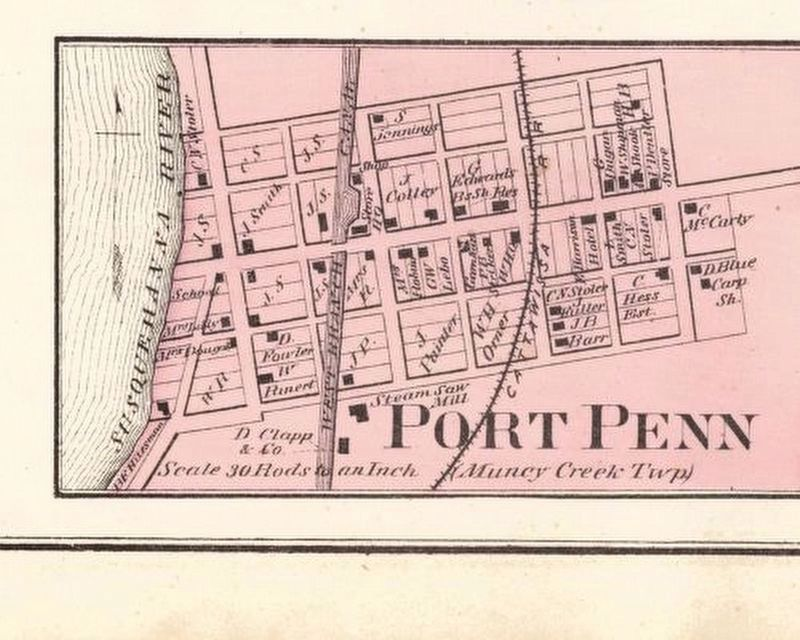 Map of Port Penn in <i>Atlas of Lycoming County, Pennsylvania</i>, 1873 image. Click for full size.
