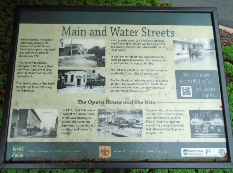 Main and Water Streets Marker image. Click for full size.