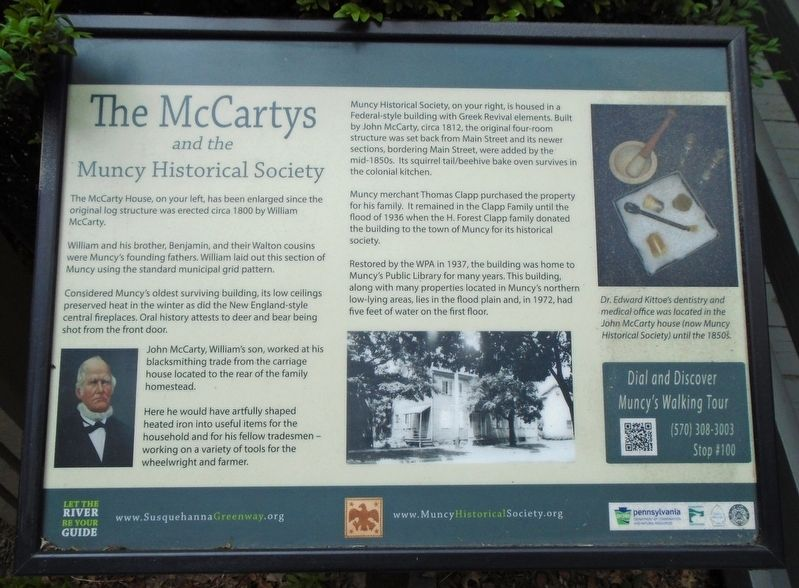 The McCartys and the Muncy Historical Society Marker image. Click for full size.