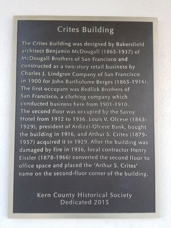 Crites Building Marker image. Click for full size.