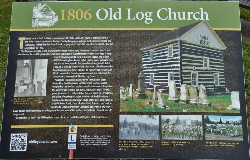 1806 Old Log Church Marker image. Click for full size.