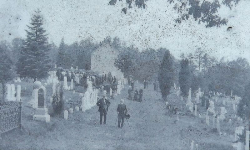 Marker detail: Possibly a Decoration Day gathering or a funeral image. Click for full size.