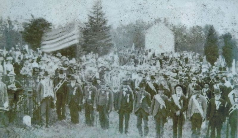Marker detail: Veterans of the Civil War at a Memorial Day Service image. Click for full size.