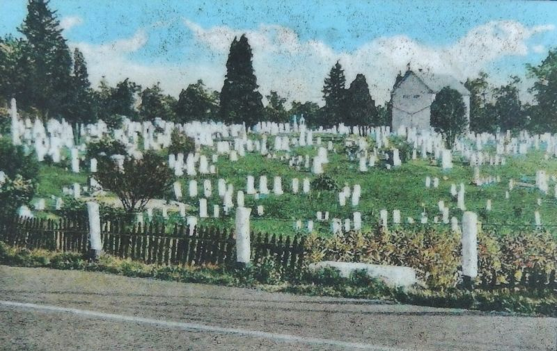 Marker detail: The Lincoln Highway (now the old section) bisects the cemetery image. Click for full size.