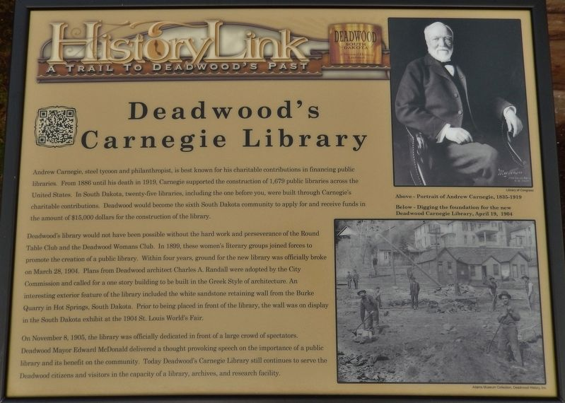 Deadwood's Carnegie Library Marker image. Click for full size.