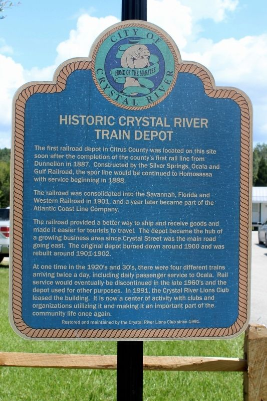 Historic Crystal River Train Depot Marker image. Click for full size.