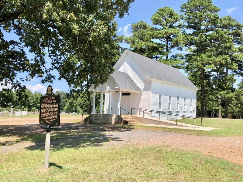 View of marker, Belleville United Methodist Church and cemetery. image. Click for full size.