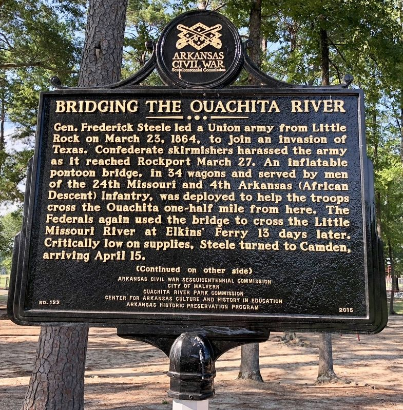 Bridging the Ouachita River Marker (front) image. Click for full size.