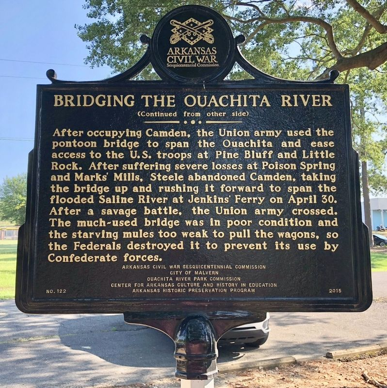 Bridging the Ouachita River Marker (rear) image. Click for full size.