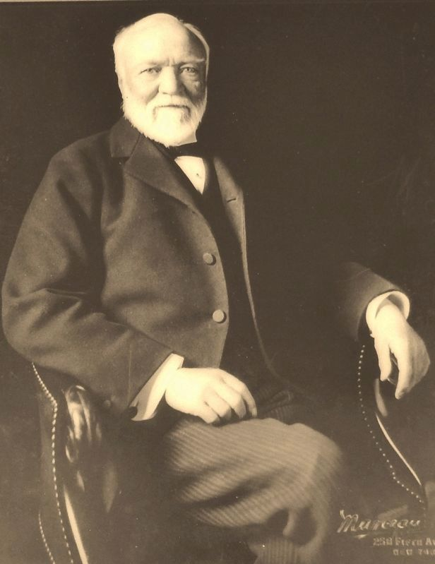 Marker detail: Portrait of Andrew Carnegie, 1835-1919 image. Click for full size.