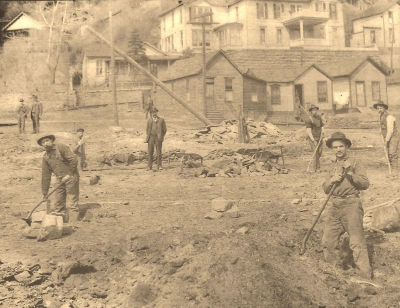 Marker detail: Digging the foundation for the new Deadwood Carnegie Library, April 19, 1904 image. Click for full size.