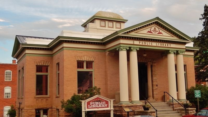 Deadwood&#39;s Carnegie Library (<i>marker visible just left of entrance</i>) image. Click for full size.