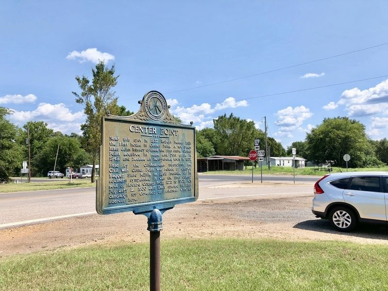 View from Center Point Marker south to intersection of U.S. 278 & AR-26. image, Touch for more information
