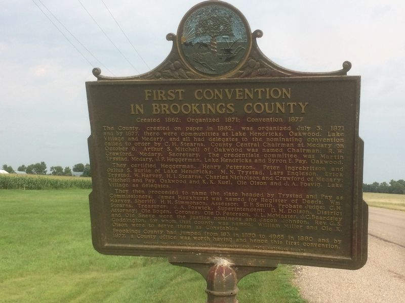 First Convention in Brookings County Marker image. Click for full size.